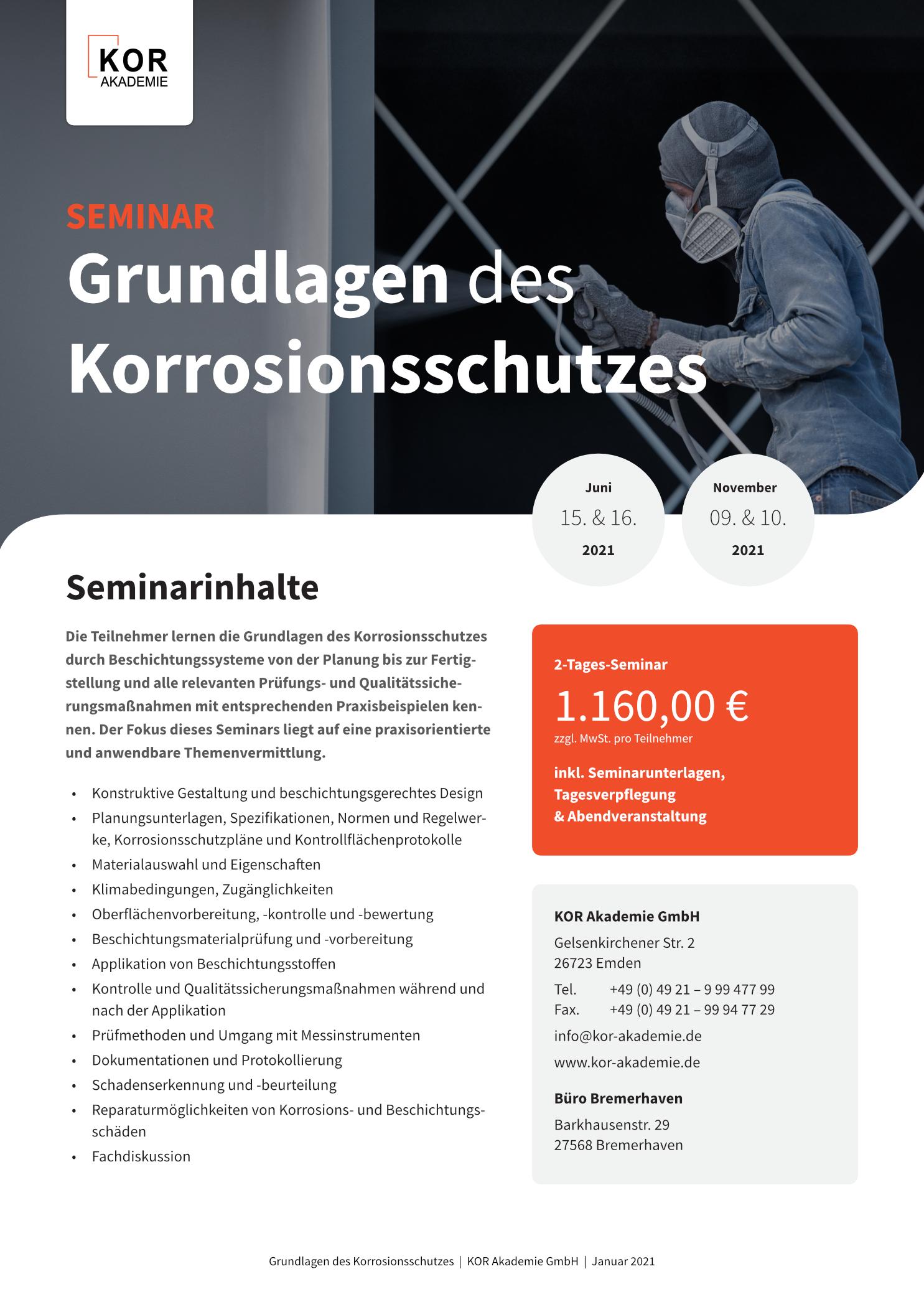 Grundlagen des Korrosionsschutzes - Informationsblatt April 2021 - KOR Akademie® GmbH